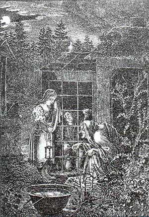 Людвиг Эмиль Гримм. Домик-пряник. Гравюра на меди. 1825.